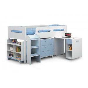 Julian Bowen Furniture Kimbo 3ft Mid Sleeper Bed in Blue with Premier Mattress