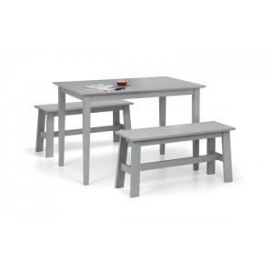 Julian Bowen Furniture Kobe Grey Compact Dining Table with 2 Kobe Grey Benches