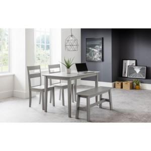 Julian Bowen Furniture Kobe Grey Compact Dining Table with 2 Kobe Grey Ladder Back Dining Chair and Kobe Grey Bench