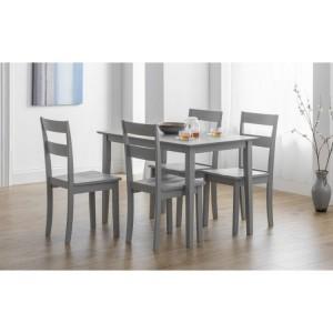 Julian Bowen Furniture Kobe Grey Compact Dining Table with 4 Kobe Grey Ladder Back Dining Chair