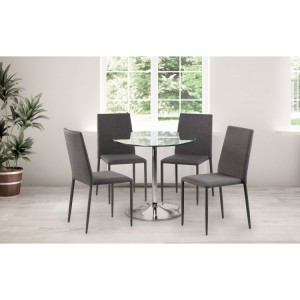 Julian Bowen Furniture Kudos Glass Pedestal Dining Table with 4 Jazz Grey Chair