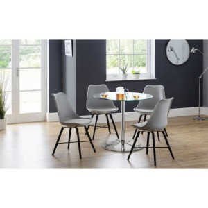 Julian Bowen Furniture Kudos Glass Pedestal Dining Table with 4 Kari Grey Chair