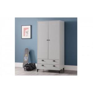 Julian Bowen Furniture Lakers Locker Grey 2 Drawer and 2 Door Wardrobe