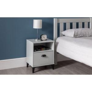 Julian Bowen Furniture Lakers Locker Grey 1 Drawer Bedside