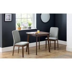 Julian Bowen Furniture Lennox Walnut Square Dining Table and 2 Berkeley chairs
