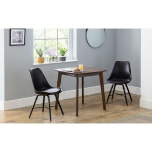 Julian Bowen Furniture Lennox Walnut Square Dining Table and 2 Kari Black Faux Leather Dining Chair