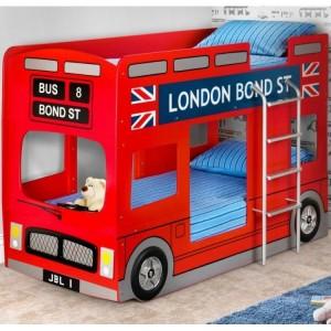 Julian Bowen Furniture London Double Decker Bus Red Bunk Bed with 2 Platinum Mattress