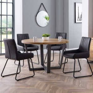 Julian Bowen Furniture Brooklyn Round Dining Table and 4 Soho Chairs