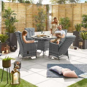 Nova Garden Furniture Ruxley Grey Rattan 4 Seat Round Dining Set
