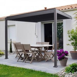 Nova Garden Furniture Titan Grey 3.6m x 3m Rectangular Aluminium Wall Mounted Pergola