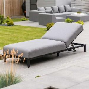 Nova Outdoor Fabric Light Grey Sunny Fabric Multi-Position Lounger
