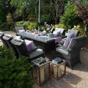 Nova Garden Furniture Olivia Grey Weave 8 Seat Rectangular Dining Set