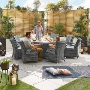 Nova Garden Furniture Olivia Grey Weave 8 Seat Round Dining Set with Fire Pit