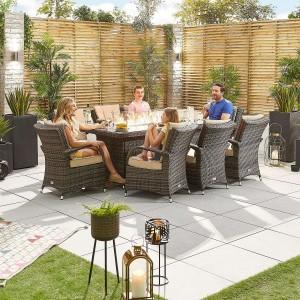 Nova Garden Furniture Olivia Brown Weave 8 Seat Rectangular Dining Set with Fire Pit