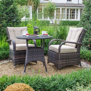 Nova Garden Furniture Olivia Brown Weave 2 Seat Bistro Set