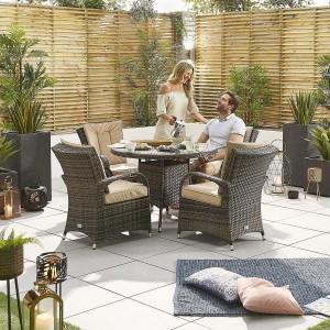 Nova Garden Furniture Olivia Brown Weave 4 Seat Round Dining Set