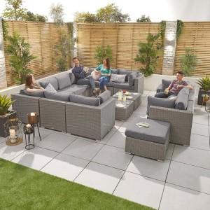 Nova Garden Furniture Chelsea White Wash Rattan 5A Corner Sofa Set with Coffee Table