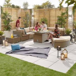 Nova Deluxe Hampton Willow Rattan Corner Sofa Set with Rising Table