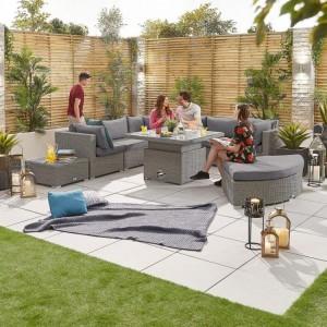 Nova Deluxe Hampton White Wash Rattan Corner Sofa Set with Rising Table