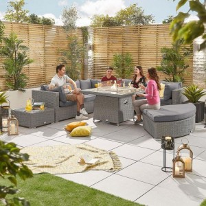 Nova Deluxe Hampton White Wash Rattan Corner Sofa Set with Fire Pit Table
