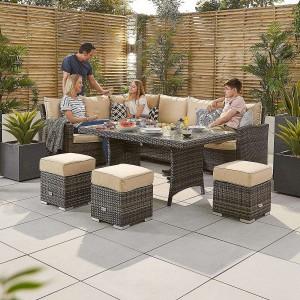 Nova Garden Furniture Cambridge Brown Rattan Left Hand Corner Dining Set with Casual Table