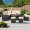 Nova Garden Furniture Cambridge Deluxe Brown Rattan Corner Dining Set with Rising Table