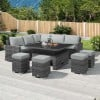 Nova Garden Furniture Cambridge Deluxe Grey Rattan Corner Dining Set with Rising Table