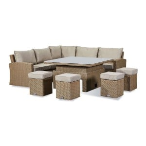 Nova Ciara Deluxe Willow Rattan Corner Dining Set with Rising Table
