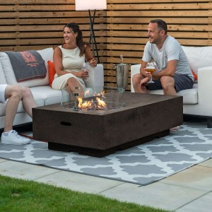 Nova Garden Furniture Cairns Rectangular Coffee Colour Gas Fire Pit Coffee Table - PRE ORDER