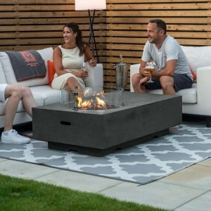 Nova Garden Furniture Cairns Rectangular Dark Grey Gas Fire Pit Coffee Table with Wind Guard - PRE ORDER