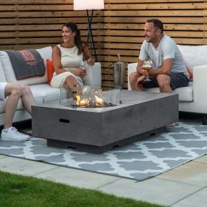 Nova Garden Furniture Cairns Rectangular Light Grey Gas Fire Pit Coffee Table with Wind Guard