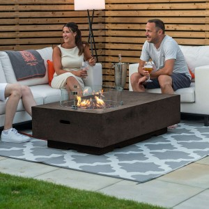 Nova Garden Furniture Cairns Rectangular Coffee Colour Gas Fire Pit Coffee Table with Wind Guard - PRE ORDER