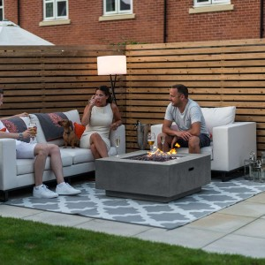Nova Garden Furniture Albany Square Light Grey Gas Firepit Coffee Table - PRE ORDER