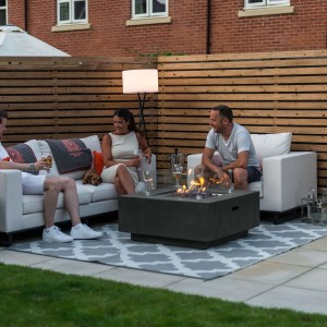 Nova Garden Furniture Albany Square Dark Grey Gas Firepit Coffee Table with Wind Guard - PRE ORDER