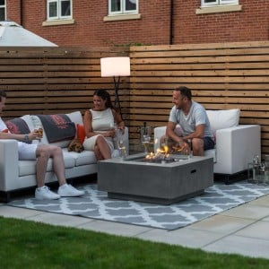 Nova Garden Furniture Albany Square Light Grey Gas Firepit Coffee Table with Wind Guard - PRE ORDER
