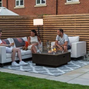 Nova Garden Furniture Albany Square Grey Gas Firepit Coffee Table with Wind Guard - PRE ORDER