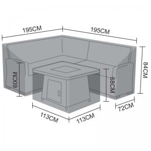 Nova Garden Furniture Cambridge Black Compact Corner Dining Set Cover with Fire Pit