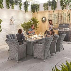Nova Garden Furniture Camilla White Wash Rattan 8 Seat Rectangular Dining Set with Fire Pit