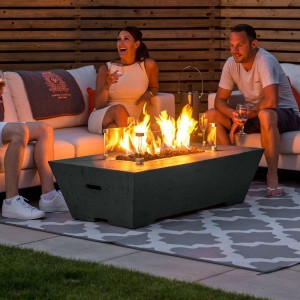 Nova Garden Furniture Gladstone Rectangular Dark Grey Gas Firepit Coffee Table with Wind Guard