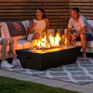 Nova Garden Furniture Gladstone Rectangular Coffee Colour Gas Firepit Coffee Table with Wind Guard