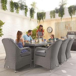 Nova Garden Furniture Leeanna Slate Grey Rattan 8 Seat Rectangular Dining Set