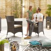 Nova Garden Furniture Amelia Brown Weave 6 Seat Rectangular Dining Set with Fire Pit
