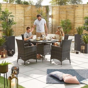 Nova Garden Furniture Amelia Brown Weave 4 Seat Round Dining Set
