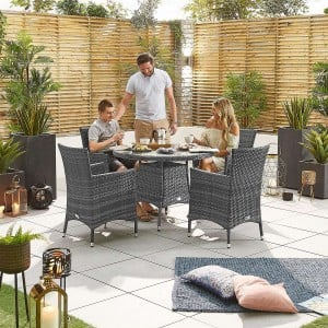 Nova Garden Furniture Amelia Grey Weave 4 Seat Round Dining Set