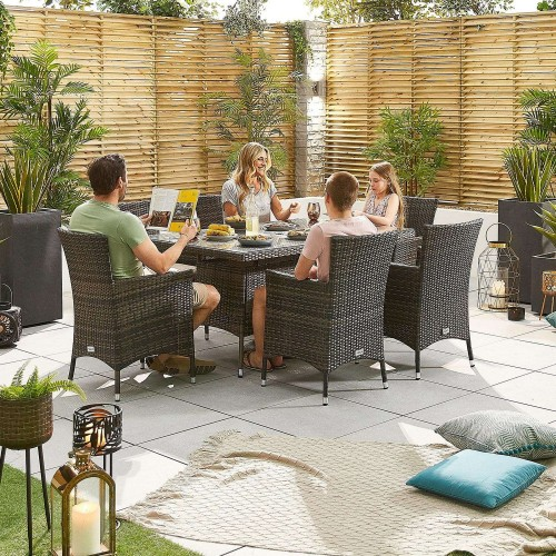 Nova Garden Furniture Amelia Brown Weave 6 Seat Rectangular Dining Set