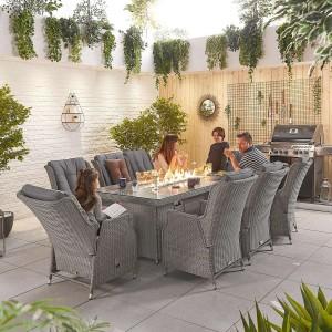 Nova Garden Furniture Carolina White Wash Rattan 8 Seat Rectangular Dining Set with Fire Pit