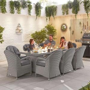 Nova Garden Furniture Leeanna White Wash Rattan 8 Seat Rectangular Dining Set with Fire Pit