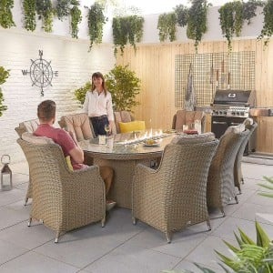 Nova Garden Furniture Thalia Willow Rattan 8 Seat Oval Dining Set with Fire Pit Table