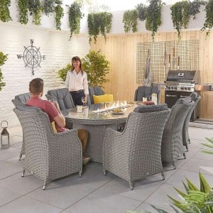Nova Garden Furniture Thalia White Wash Rattan 8 Seat Oval Dining Set with Fire Pit Table