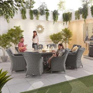Nova Garden Furniture Thalia Slate Grey Rattan 8 Seat Oval Dining Set with Fire Pit Table